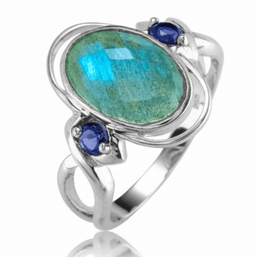 Ladies Shipton and Co Silver and 3ct Labradorite Ring RQA616LBIO