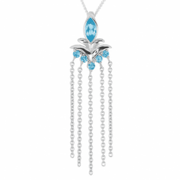 Ladies Shipton and Co Silver and Blue Topaz Pendant including a 16 Silver Chain PQA605BT