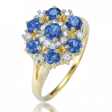 Ladies Shipton and Co 9ct Yellow Gold and Blue Sapphire Ring RYD164BSD