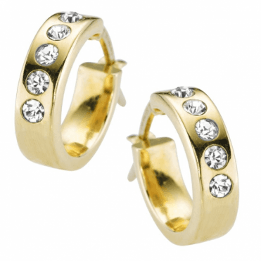 Solid Gold Hoops with a Contemporary Sparkle