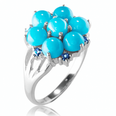3½ct Turquoise Ring with Iolite Sparkle