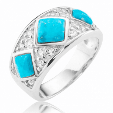 Ladies Shipton and Co Silver and Turquoise Ring TSV071TQWT