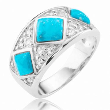 Smooth Turquoise & Glistening White Topaz Ring