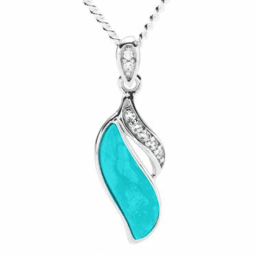 Ladies Shipton and Co Silver and Turquoise Pendant including a 16 Silver Chain TSV070TQWT