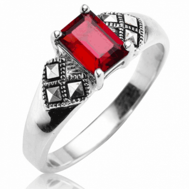 Art Deco Garnet Ring with Marcasite Glints