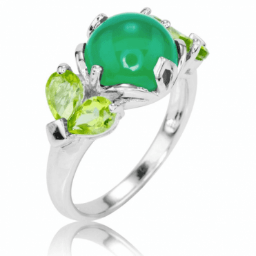 Ladies Shipton and Co Silver and Green Agate Ring RQA589GAPE