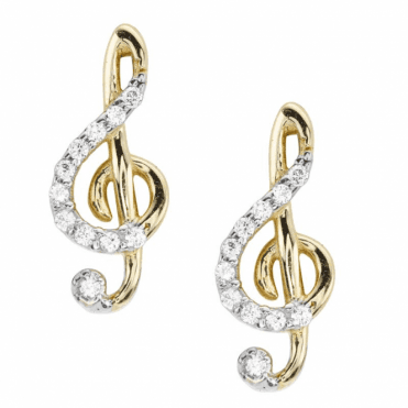Ladies Shipton and Co 9ct Yellow Gold and Cubic Zirconia Earrings TAR631CZ