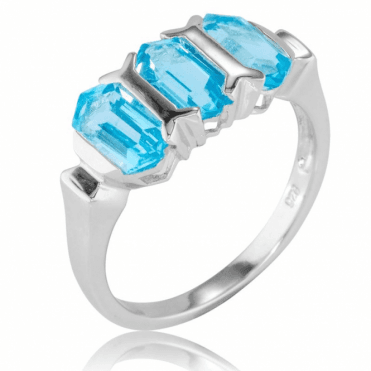 Ladies Shipton and Co Silver and Blue Topaz Ring RQA583BT