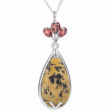 Ladies Shipton and Co Silver and Landscape Jasper Pendant including a 16 Silver Chain PQA618LSGR