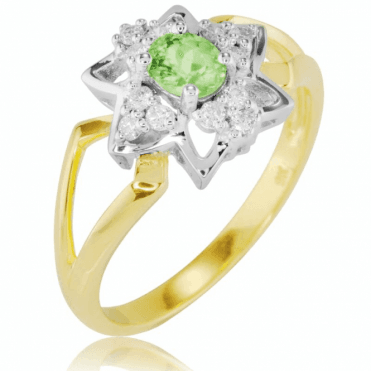 Ladies Shipton and Co 9ct Yellow Gold Diamond and Demantoid Ring RYD158DED