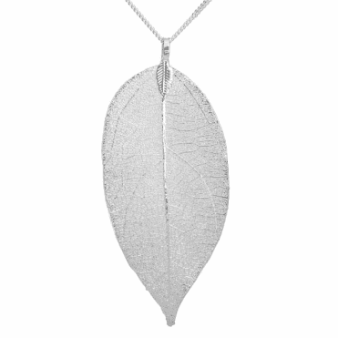 Natural Leaf Pendant Frosted with Silver