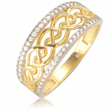 Ladies Shipton and Co 9ct Yellow Gold and Cubic Zirconia Ring TVG003CZ