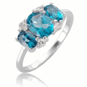 Ladies Shipton and Co Silver and Blue Topaz Ring TFE299BTWT