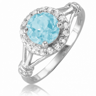 Ladies Shipton and Co Silver and Blue Topaz Ring TSV090BTWT
