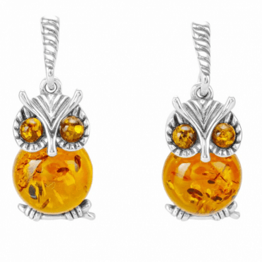 Ladies Shipton and Co Silver and Amber Owl Earrings TFE321AB