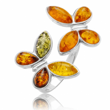 Ladies Shipton and Co Silver and Amber Ring TFE322AB