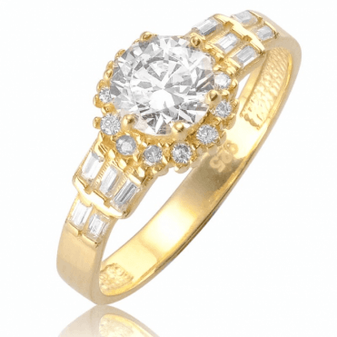Ladies Shipton and Co 9ct Yellow Gold and Cubic Zirconia Ring TVG002CZ