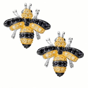 Ladies Shipton and Co Silver and Cubic Zirconia Bumble Bee Earrings TFE309CZ