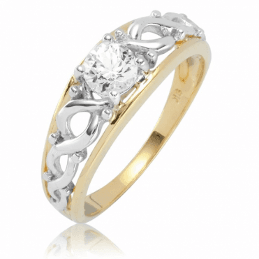 Ladies Shipton and Co 9ct Yellow Gold and White Sapphire Ring RYG090WS