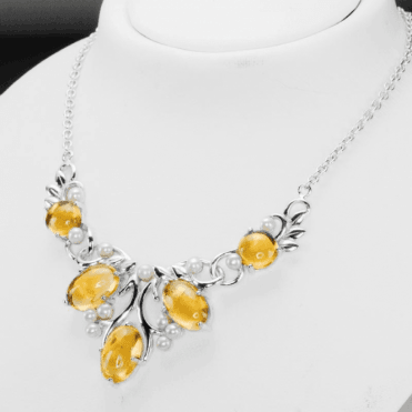 Ladies Shipton and Co Silver and Citrine Necklace NQA628CIP