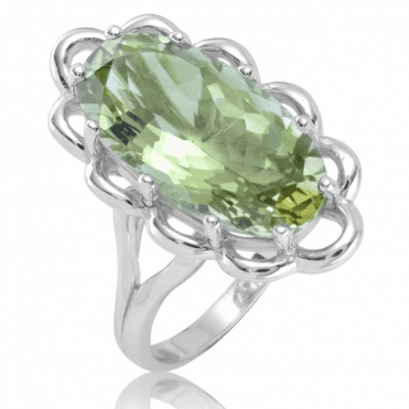 Ladies Shipton and Co Silver and Green Amethyst  Ring RQA633GM