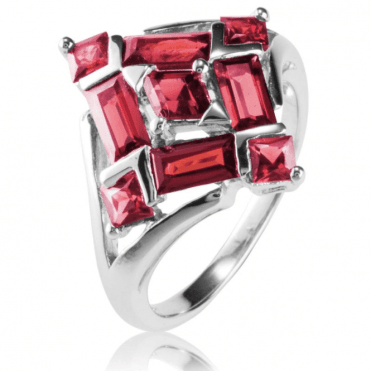 Ladies Shipton and Co Silver and Garnet Ring RQA640GR