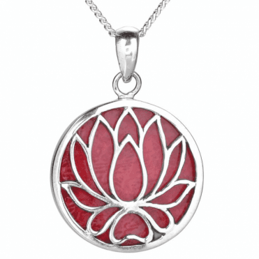 Ladies Shipton and Co Silver and Coral Flower Pendant TSS274CL