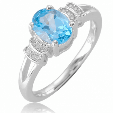 Ladies Shipton and Co Silver and Blue Topaz Ring TFE298BTWT