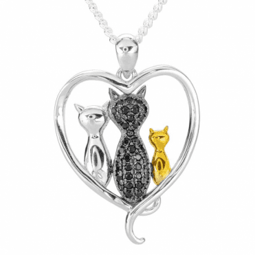Ladies Shipton and Co Silver and Cubic Zirconia Cat Pendant TFE306CZ