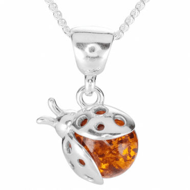 Ladies Shipton and Co Silver and Amber Ladybird Pendant TFE275AB