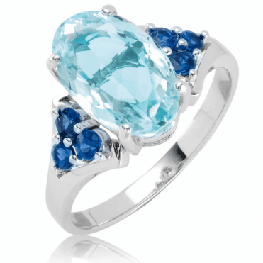 Ladies Shipton and Co 9ct White Gold and Aquamarine Ring S08869AQBS
