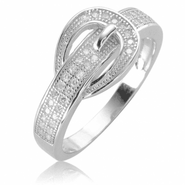 Ladies Shipton and Co Silver and Cubic Zirconia Buckle Ring TAO059CZ