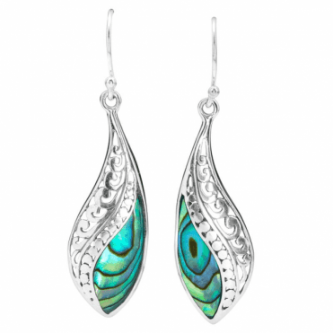 Wave Earrings of Natural Paua Shell