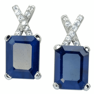 Ladies Shipton and Co Silver and Blue Sapphire Earrings TFE297BSWT