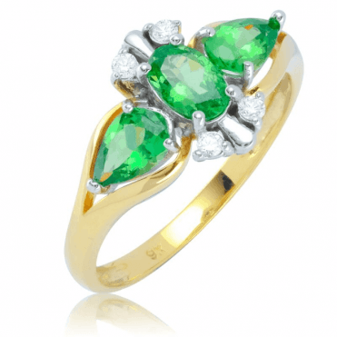 Ladies Shipton and Co 9ct Yellow Gold and Tsavorite Ring RYD170TSD