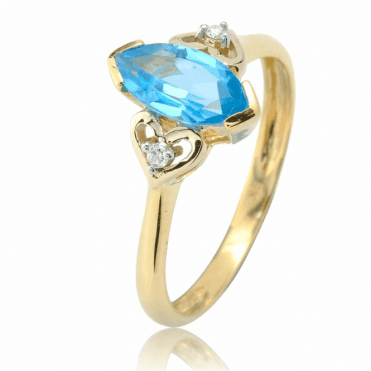 2.50ct Blue Topaz Island Ring Accented with Diamonds