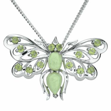 Lemon Chrysoprase & Peridot Butterfly Pendant