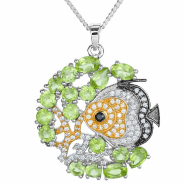 Peridot & Black Spinel with Glints of 18ct Yellow Gold