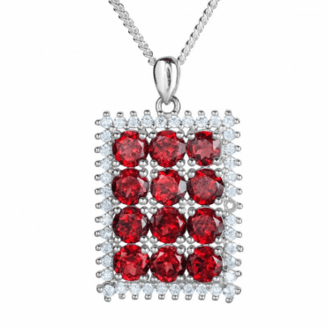 6cts of Garnet in a White Topaz Frame