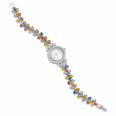 Irresistible Value Solid Silver Watch with 20cts of Fancy Sapphires