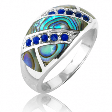 Art Deco Ring of Faceted Lapis & Paua Shell