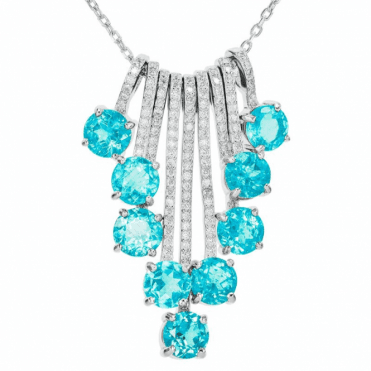 5½cts Waterfall Pendant of Blue Apatite & White Topaz