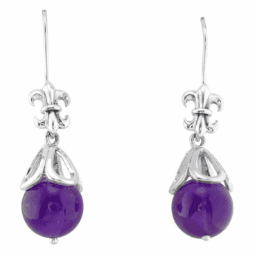 Château Silver Earrings with Solid Amethyst