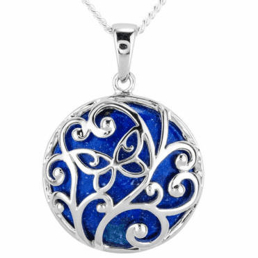Solid 20ct Lapis Overlaid with Silver Intricacy