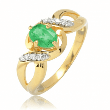 ¾ct Emerald in Diamond Jewelled Ribbons of Gold