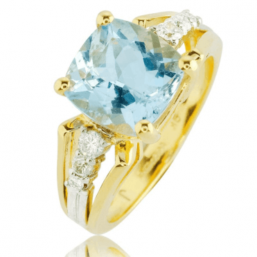 Gorgeous 2½ct Aquamarine Ring with 9ct Gold & Diamonds