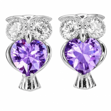 Ladies Shipton and Co Silver and Cubic Zirconia Owl Earrings TAO046CZ