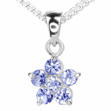Ladies Shipton and Co Silver and .75ct Tanzanite Flower Pendant TFE301TZ