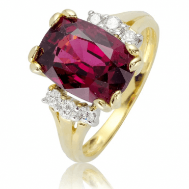 Diamonds & 9ct Gold Display 5.8cts of Rhodalite Garnet