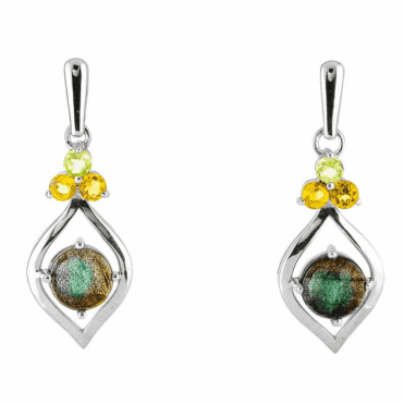 Labradorite Luxury Earrings with Citrine & Peridot
